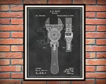 1878 Wrench Patent Print - Crescent Wrench Patent Print - Mechanics Gift Idea - Carpenter Gift - Auto Repair Shop Art - Plumber Gift Idea