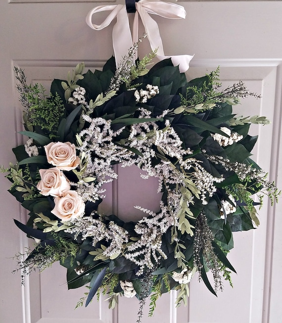 20 inch preserved champagne rose wreath, wedding wreath, bridal wreath, natural wreath, preserved wreath, indoor wreath, ivory wreath