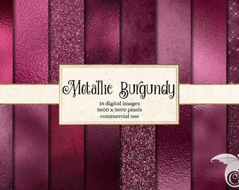 Metallic Burgundy Textures Digital Paper, glitter foil, Backgrounds, red Glitter, Foil Scrapbook Paper Pack, Sparkle Commercial Use
