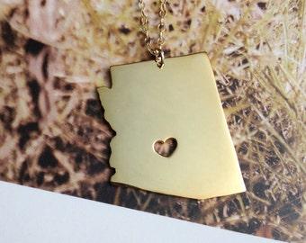 Collar del estado de Arizona, AZ estado collar de encanto, personalizado estado collar, regalo de Navidad collar personalizado con un corazón
