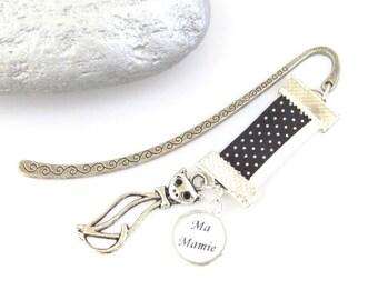 """Gift """"Grandma"""" Silver bookmark and elegant cat"""