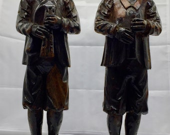 Pr Antique Carved Oak Tyrolean Style  Figurines circa 1870