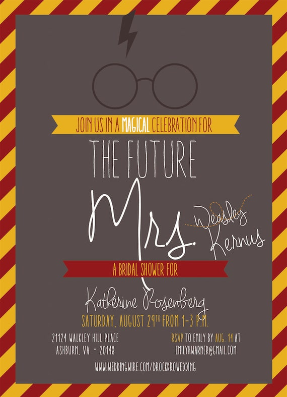 Invitation harry potter themed bridal shower baby shower bachelorette party etc solutioingenieria Gallery