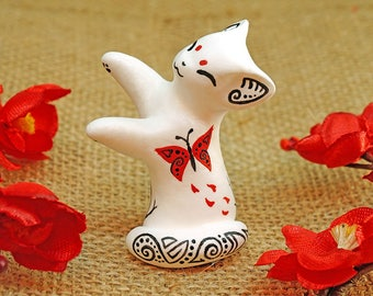 White cat figure oriental red butterfly kawaii animal totem fantasy creature velvet clay polymer clay miniature birthday christmas gift