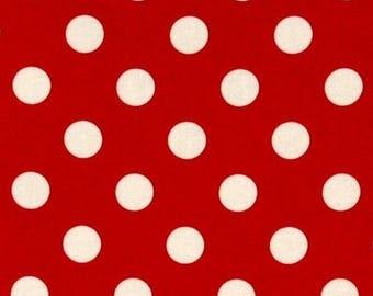 Fabric polka dot patchwork c Miller red white dot