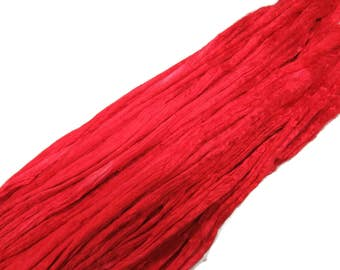 1 oz Mulberry Silk roving, hand dyed , color Tomato Red