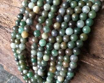 Jade beads Mixed Color Natural Beads green round beads Full strands 15.5inch 6.5mm-8.5mm XY054