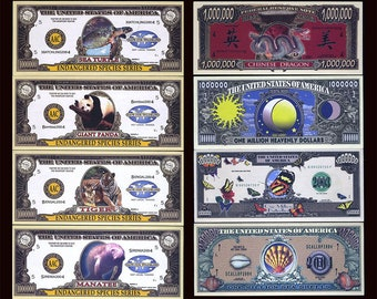 USA 8 note set, 2004, Endangered Species, Dragon, Butterfly, Sea Shell