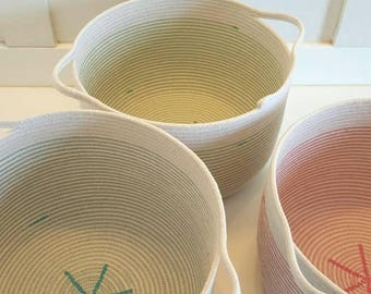 Made to Order Colorful Rope Baskets with Handles