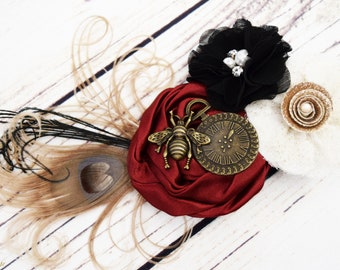 Handcrafted Steampunk Peacock Feather Hair Clip - Burgundy Wine Black Ivory - Steampunk Bee - Steampunk Cosplay - Wedding Hair Accessory