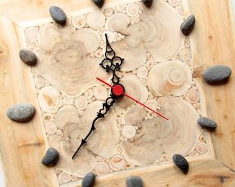 Juniper Wood Clock, Natural Handmade Wall Clock, Small Wooden Clock, Unique Gift, Untreated Wood