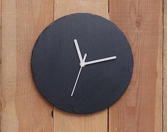 Plain Round Slate Clock- contemporary design with a white mechanism (SR1149)