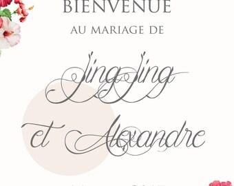 Affiche de Mariage - Bienvenue - Red Flowers - Personnalisable