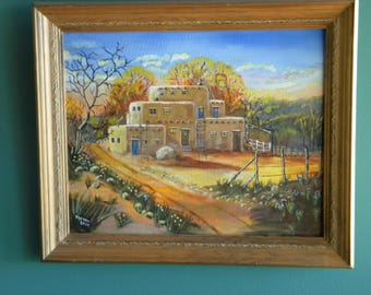"Southwest Adobe in Rustic Wood Frame.  16"" by 20"" Acrylic"