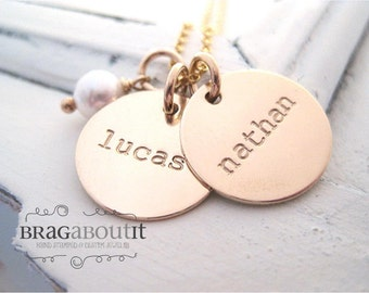Personalized Hand Stamped Necklace - Personalized Jewelry - Brag About It - Tiny Brag With Pearl