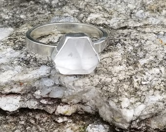 Natural clear quartz spike 925 sterling silver ring