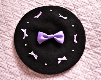 Black Kawaii Lolita Beret