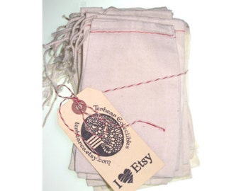 25 muslin draw string Sacks for stamping bags cloth bags
