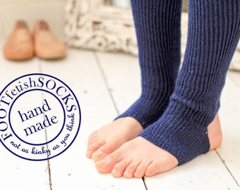 NAVY Blue LEG WARMERS for Yoga, Pilates, Ballet, Dance, Workout -  Knee or Thigh High Ribbed Wool Toeless leggings - One size - Handcranked