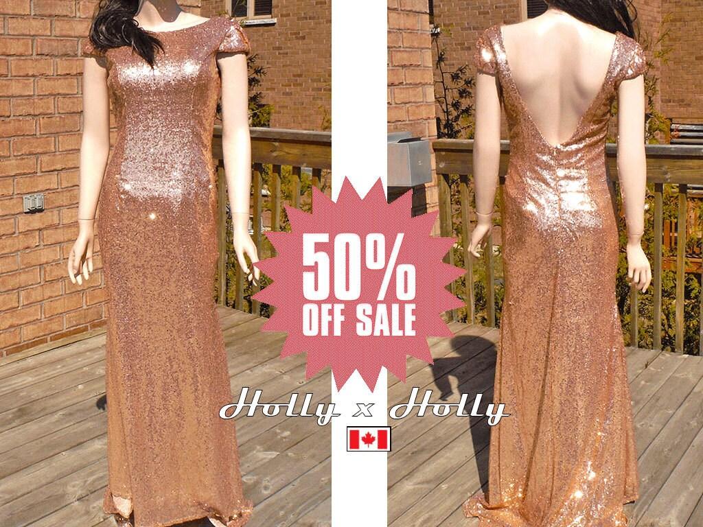 Rose gold sequin bridesmaid dress blush gold bridesmaid zoom ombrellifo Gallery