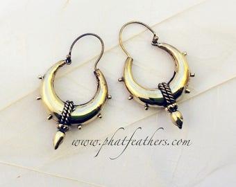 Brass Spike Hoop Earrings, Spike Earrings, Punk Earrings, Tribal Earrings, Gypsy Hoop Earrings, Festival Earrings, Goth Earrings, Ethnic