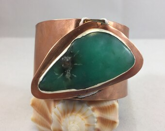 Bracelet- Chunky Copper Cuff with Large Cab