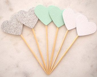 READY TO SHIP! Mini heart cupcake toppers | Mint white silver glitter love heart toppers | Baby shower toppers | Engagement toppers