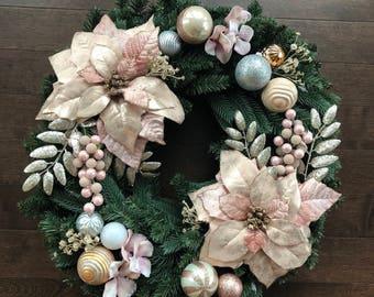 Elegant Christmas Wreath, Christmas Wreath, Christmas Wreaths for Front Door, Christmas Wreath with Lights, Christmas Decorations