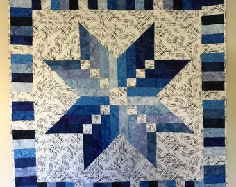 Batik Blue Shaded Star Quilt, Quilts for Sale, Handmade Quilts, Quilts for Wallhanging, Quilts for Lap, Quilts for Gifts