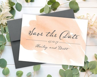 "Save The Date Cards - 5"" x 7"" Watercolor Wedding Announcement Cards - Save The Dates - Personalized Save the Dates - Photo Cards - #satd-280"