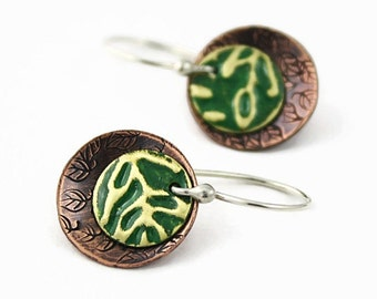 Mixed Metal Earrings, Brass and Copper Discs, Emerald Green Patina, Handmade