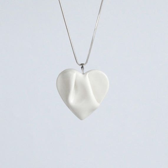 Work of HEART necklace, white and silver