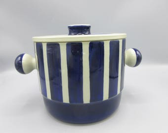 Rorstrand Mary Westland Ovenware Covered Casserole Sweden Blue and White Striped Mid-Century Bold Graphic
