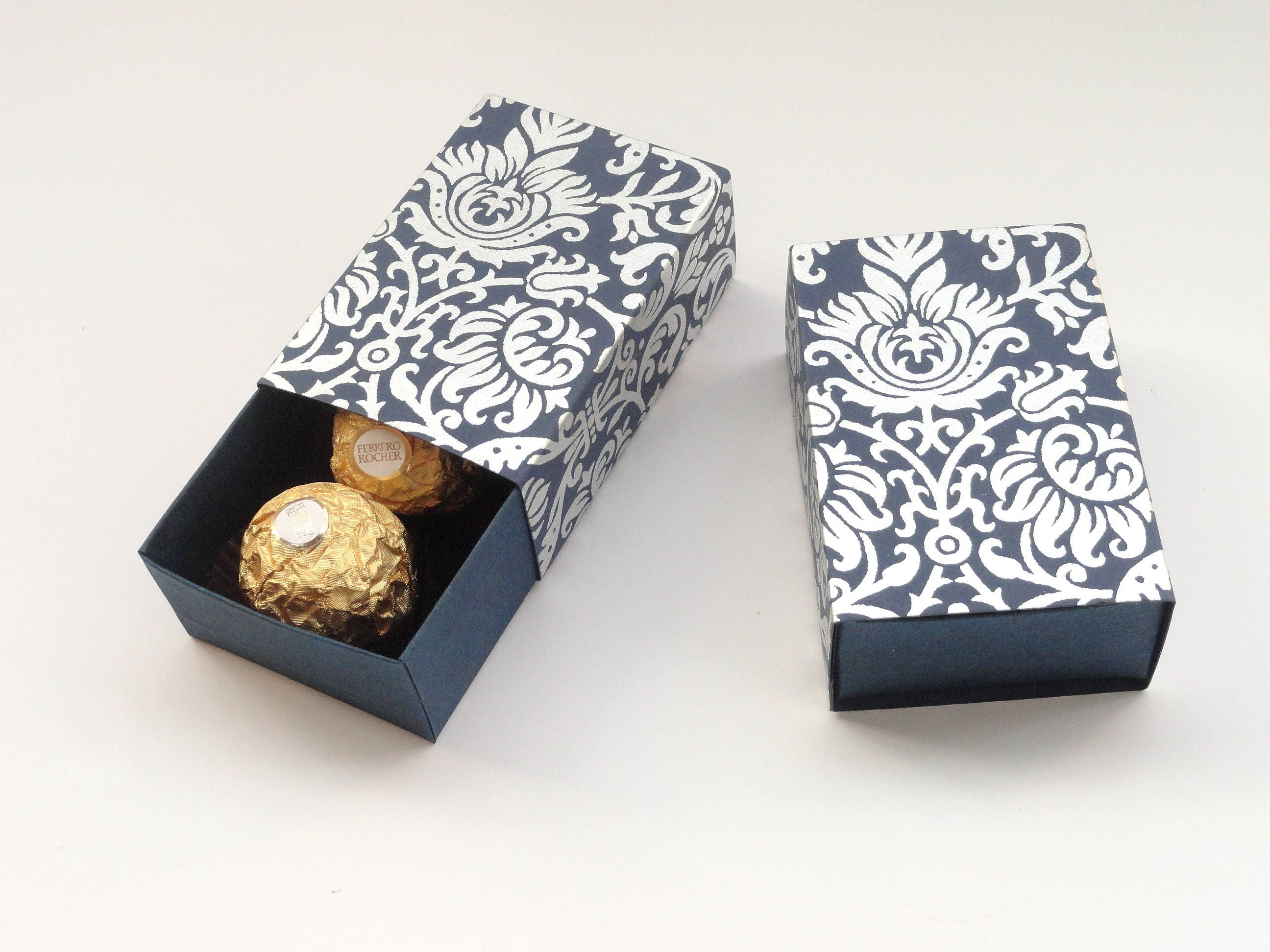 Navy blue n silver Damask print, favor box, Packaging box, size 3.2 ...