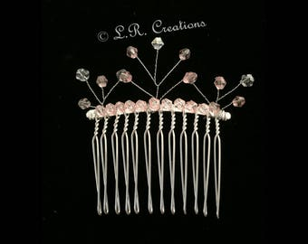 Silver plate hair comb with crystal tree beading