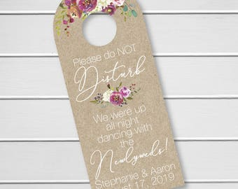 Penelope - Wedding Door Hanger, Custom Hotel Door Hangers, Destination Wedding Welcome Bag  (DH-379-KR-WT-B)