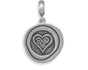 Oxidized HEART Pendant - 925 Sterling Silver