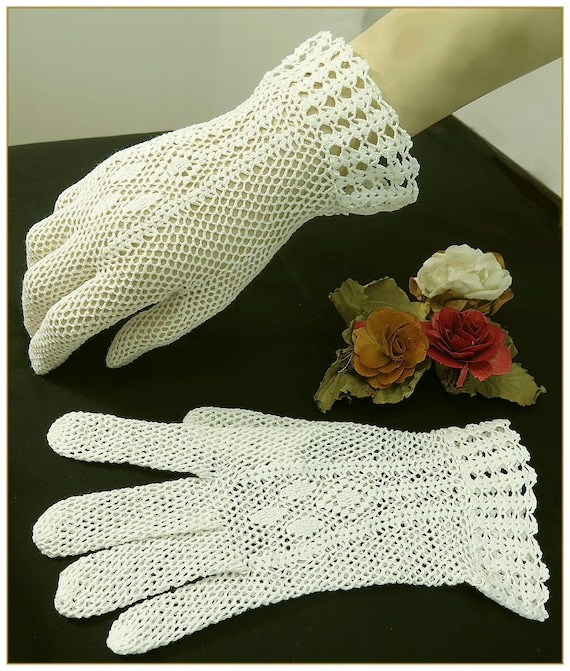 Vintage Gloves History- 1900, 1910, 1920, 1930 1940, 1950, 1960 Ivory Crochet Gloves 100% Cotton $19.00 AT vintagedancer.com