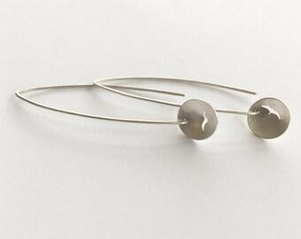 Silver Drop Hoop Earrings with Seagull Silhouette, silver hoop earrings, bird earrings