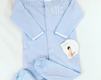 Personalized baby footie - monogrammed baby sleeper - blue stripes polkadots baby gown romper - personalized baby gift - baby boy sleeper