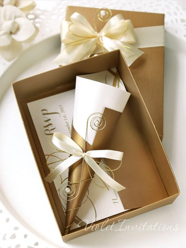 10 Gold Scroll Boxed Wedding Invitations Handmade Scroll Box