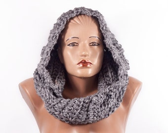 Free shipping ! Hooded Scarf, Acrylic Scarf, Chunky hooded scarf, Hooded infinite scarf by LoveKnittings