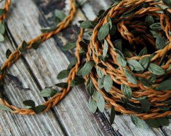 1 yard . Red Head Leaf Twine . Rustic Leaf Ribbon . Christmas Gift Wrap . Gift Wrapping Ideas . Flower Crown Vine . DIY Wedding Headpiece