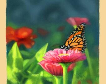 """Butterfly Art - Monarch Butterfly - Summer by Leanne Peters 8"""" x 8"""" Archival Print"""