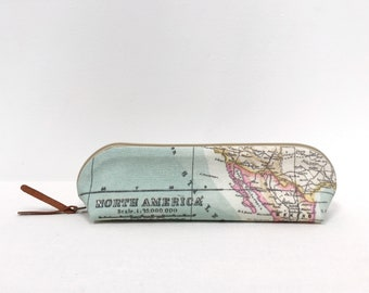 World map pencil case / blue green coated cotton