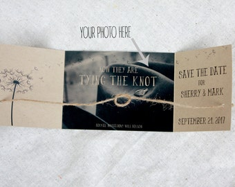 Rustic engagement announcement set, Tying the knot Save the Date, photo save the date, rustic photo save the date, Tie the knot, Set of 25