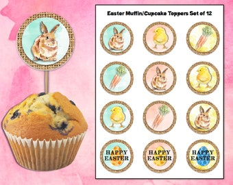 Watercolor Easter Muffin/Cupcake toppers