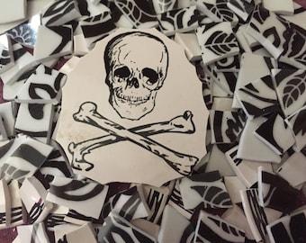 Mosaic Tiles Mix Broken Plates Skulls and Crossbones Black White Mix 100