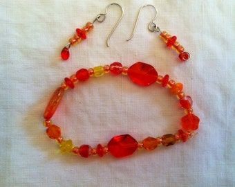 Earrings and Bracelet Bright Orange