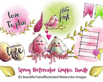 Spring Watercolor Illustrations - Digital Images - Clipart - Sticker - Printables